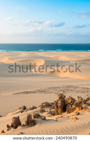 Sand dunes  in Chaves beach Praia de Chaves in Boavista Cape Verde - Cabo Verde - stock photo