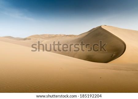 Sand dunes in Dunhuang, Gansu of China - stock photo