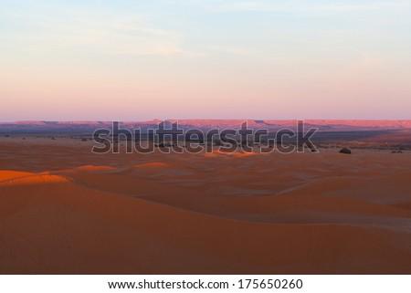 Sand dunes in Erg Chebbi, Western Sahara Desert, Morocco - stock photo