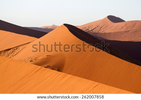 Sand dunes in Namibia, The Namib Desert - stock photo