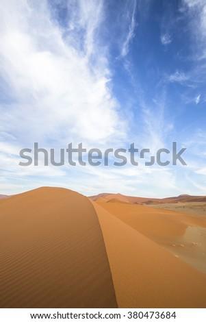 Sand dunes in Sossusvlei, Namibia. - stock photo