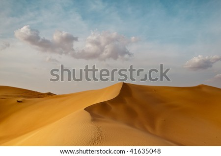 Sand Dunes in the Dubai Desert - stock photo