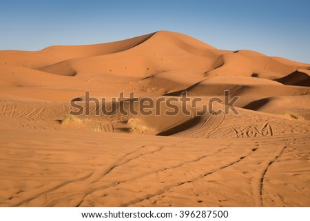 Sand dunes in the Sahara Desert, Erg Chebbi, Merzouga, Morocco - stock photo