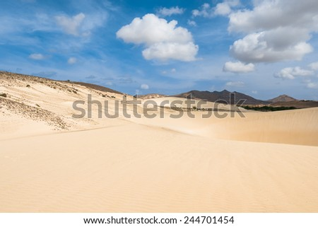 Sand dunes in Viana desert - Deserto de Viana in Boavista - Cape Verde - Cabo Verde - stock photo