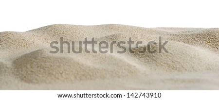 Sand dunes isolated on white background. Shallow depth of field. - stock photo