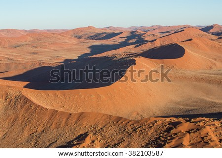 Sand Dunes landscape taken from the hot air balloon in Namibia