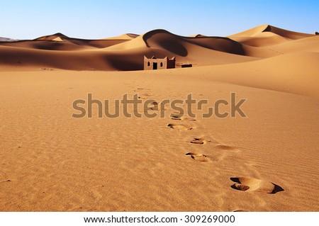 Sand dunes, Morocco, Erg Chebbi - stock photo