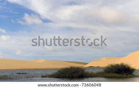 Sand dunes of the Lencois Maranheses National Park in Brazil, part of UNESCO Cultural Patrimony of the Humanity - stock photo