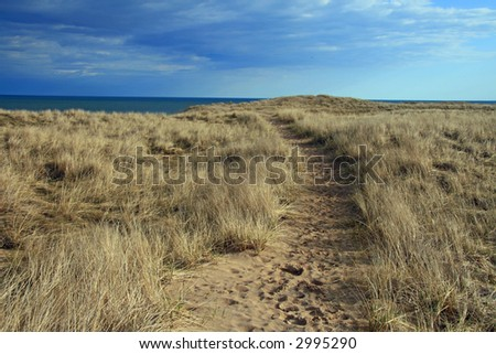 Sand Dunes on Lake Michigan - stock photo