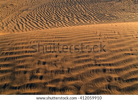 sand dunes on the desert - stock photo