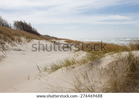 Sand dunes overgrown with grass, the Baltic Sea, the Curonian Spit - stock photo