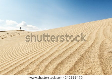 Sand dunes. People on the horizon. Canary islands, Maspalomas. Spain.  - stock photo