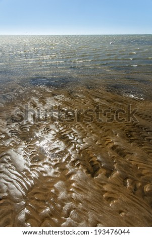 Sand Formations on beach at Ramsar Protected Area - Walvis Bay Lagoon, Namibia, Africa - stock photo