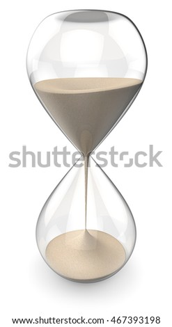 Sand Glass. 3D render of a Classic Hourglass.