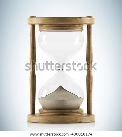 Sand glass in wooden carcass. All sand down. Concept of time. 3D rendering