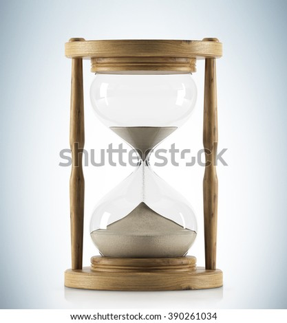 Sand glass in wooden carcass, sand running. Concept of time. 3D rendering