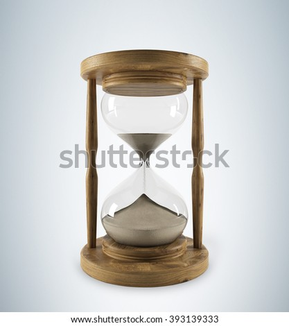Sand glass in wooden carcass, sand running. Grey background. Concept of time. 3D rendering
