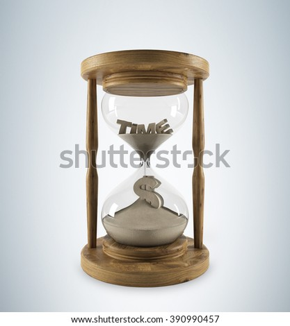 Sand glass in wooden carcass, 'time' on top inside, dollar sign down. Sand running. 3D rendering