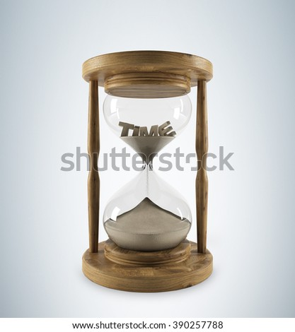 Sand glass in wooden carcass, 'time' on top inside. Sand running. Grey background. 3D rendering