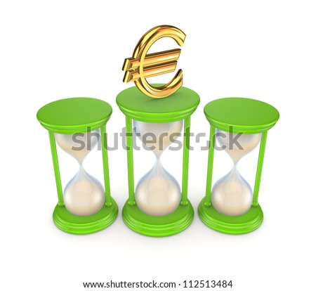 Sand glasses and euro symbol.Isolated on white background.3d rendered. - stock photo