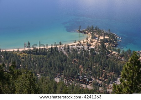 Sand Harbor from the Flume Trail - stock photo