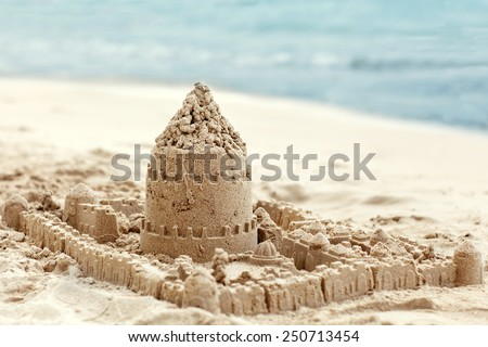 Sand house made with his own hands Children - stock photo