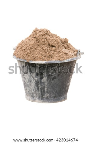 Sand in bucket for cement mixing isolated - stock photo