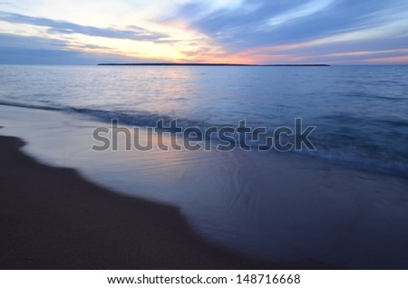 Sand Island Sunset, Apostle Islands Lakeshore in Wisconsin - stock photo