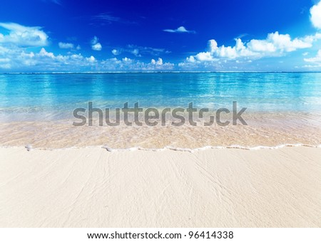 sand of beach caribbean sea - stock photo