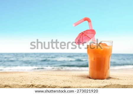 sand of summer beach and glass  - stock photo