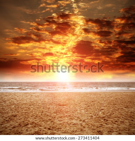 sand on beach and sunset