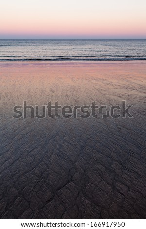 Sand on the beach at the sunset, Gran Canaria - stock photo