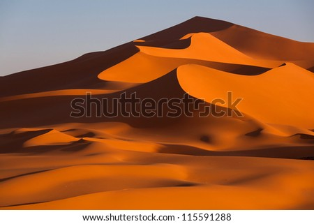 Sand patterns in the desert - stock photo
