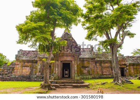 sand stone castle, phanomrung in Buriram province, Thailand. Religious buildings constructed by the ancient Khmer art, Phanom rung national park in North East of Thailand