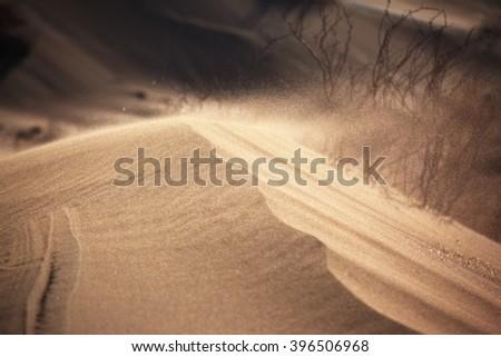 Sand storm in the desert - stock photo