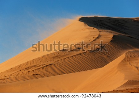 Sand storm on dune in national park Altyn-Emel, Kazakhstan - stock photo
