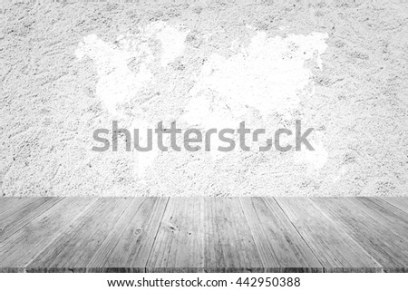 Sand texture surface white color use for background with Wood terrace and world map