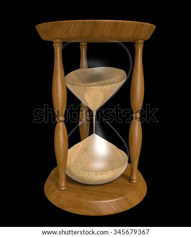 Sand trickling down an old wood hourglass as time passes
