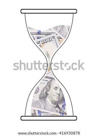 Sand watch and dollar bills as time is money concept