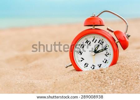 Sand, watch, closeup. - stock photo