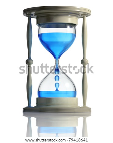 Sand watch with water dropping inside isolated on white background. Time runs fast concept. 3d