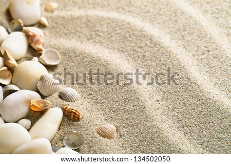 Sand with shells and stones. Beach composition with copy space - stock photo