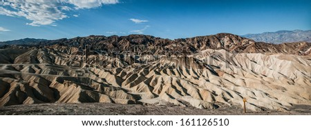sand zabriskie mointains Death valley california panoramic view - stock photo