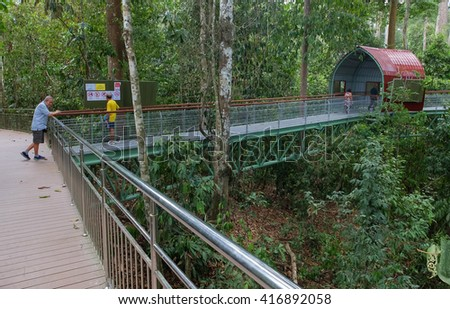 Sandakan Sabah Malaysia - May 6, 2016 : People visiting Borneon Sun Bear Conservation Centre. The centre is equipped with key facilities including an observation platform and boardwalk. - stock photo