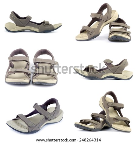 sandals collection over white background - stock photo