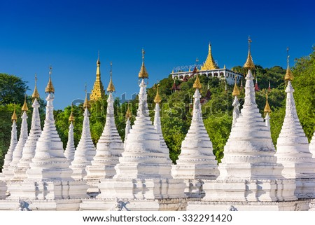 Sandamuni Pagoda Temple stupas in Mandalay, Myanmar. - stock photo