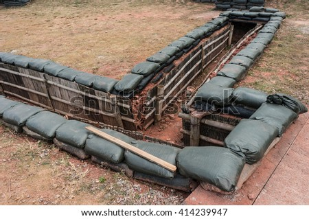 Sandbag Bunker Stock Photo - Image: 56392598