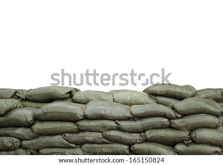 sandbags for protection with white background - stock photo