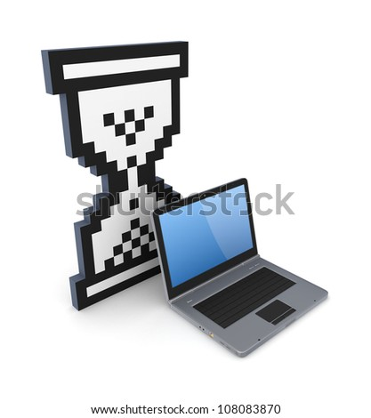 Sandglass 3d icon and notebook.Isolated on white background.3d rendered.