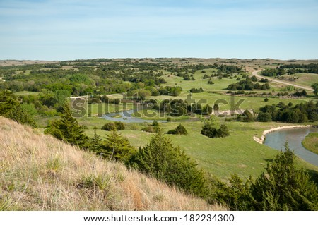 Sandhillls in Nebraska from scenic overlook. - stock photo